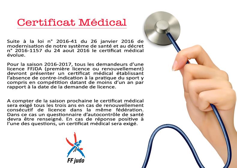 Certificat médical nouvelles dispositions